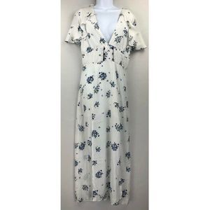 Lush Ivory Floral Plunging Dress M